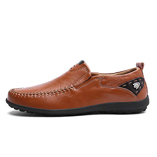 de Ligero Transpirable Pedal Reino Cuero Casual Casual Loafers Eventos 6 Marrón Hombre Fiesta Unido Suave shoes Amarillo Mocasines Jiuyue Un para Formal Pie o Incluso Barco 8qxEPXX