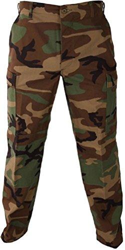 Six Pocket Fatigue Pant - Woodland Camo 6-Pocket Military Poly/Cotton BDU Cargo Fatigue Pants