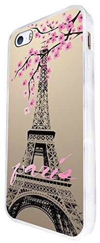 300 - Shabby Chic Floral Paris Eiffel Tower Design iphone SE - 2016 Coque Fashion Trend Case Coque Protection Cover plastique et métal - Blanc