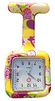 Boolavard® TM Nurses Infection Control Colored Patterned Silicone Rubber Fob Watches - SQUARE Yellow + Pink