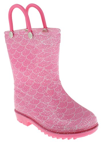 Combo Footwear Toddler Pink - Capelli New York Toddler Girls Mermaid Printed Rain Boots with Handles Pink Combo 10