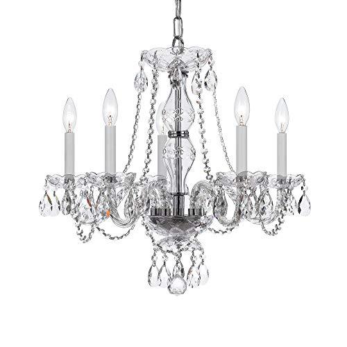 - Bohemian 5 Light Crystal Candle Chandelier Crystal Type/Finish: Swarovski Spectra/Chrome