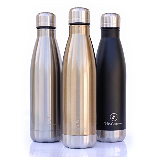 Ultra Convenience Stainless Steel Vacuum Insulated Water Bottle, Echo Friendly & Leak-proof, Keep Water Cold for 24 Hours and Hot for 8 Hours, Double Walled, BPA Free, 17oz (Gold Hour)