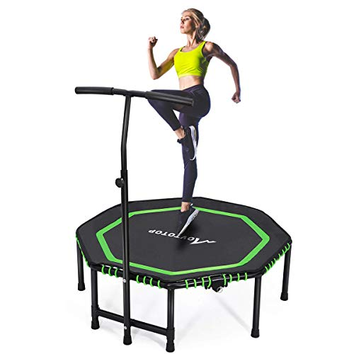 MOVTOTOP Indoor Fitness Trampoline Folding 48 Inch with Adjustable Handrail