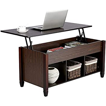Yaheetech Lift Top Coffee Table with Hidden Storage Compartment & Shelf for Home Living Room Furniture, 41.1 x 19.3 x (19.2-24.6)'' (LxWxH)
