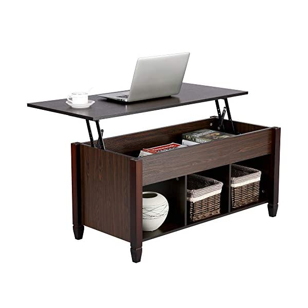 Yaheetech Lift Top Coffee Table with Hidden Storage Drawers for Home Living Room...