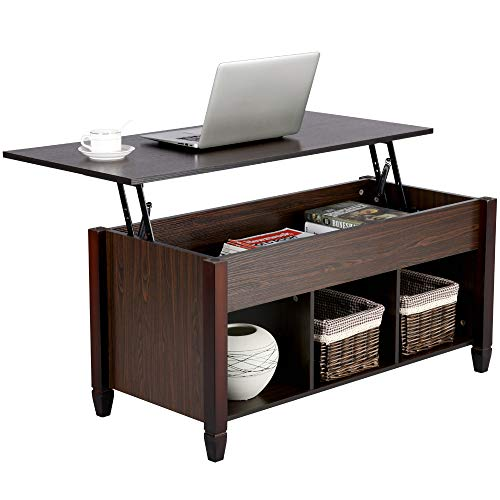 Yaheetech Lift Top Coffee Table with Hidden Storage Drawers for Home Living Room Furniture (Top Desk)