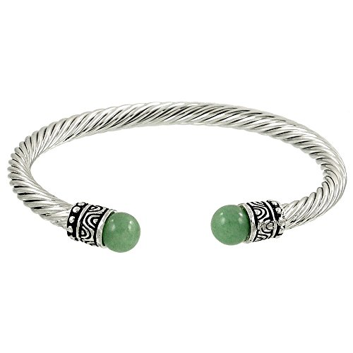 Falari Natural Gemstone Twist Cable Wire Bracelet -