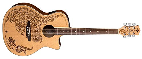 Luna Henna Oasis Select Spruce Acoustic/Electric Guitar, Open Pore Natural ()