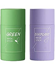 2 Pcs Green Tea and Egg Plant Purifying Clay Stick Mask Oil Control Anti-Acne Eggplant Solid Fine, Moisturizes and Controls The Oil, Acne Clearing, Blackhead Remover, Improves Texture of The Skin