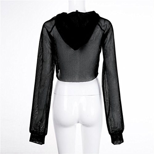 Jitong Mujeres Mesh Ver-a traves Camisetas Sudaderas con capucha Manga Larga Blusa Crop Top Negro