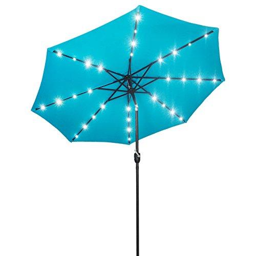ed Patio Market Umbrella Outdoor Solar Powered Table Steel Umbrella with Tilt and Crank (Sky Blue) ()