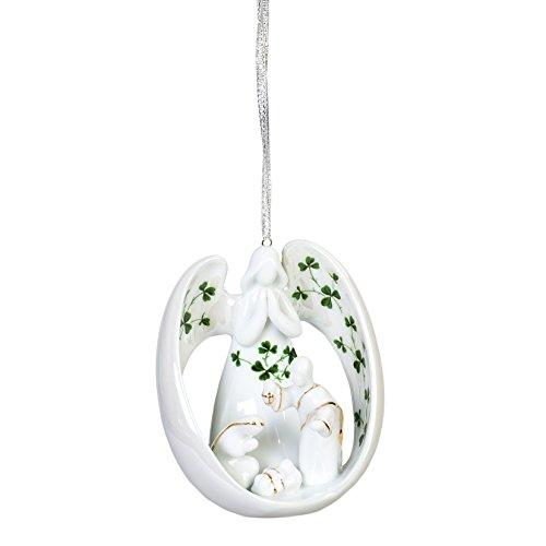 Holy Family Porcelain - Angel and Holy Family Manger Shamrocks Porcelain 4 in. Christmas Ornament