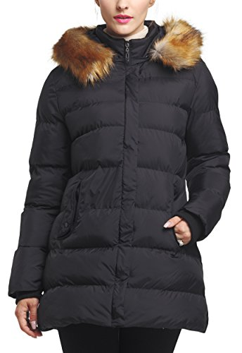 WenVen Femme Blouson Matelass  Capuche Manteau d'hiver avec Fourrure Noir