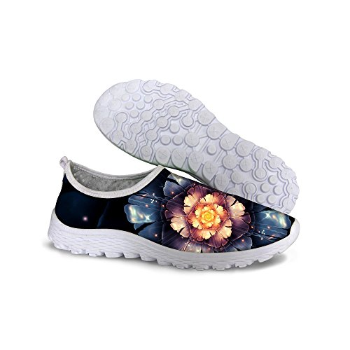 FOR U DESIGNS Summer Fashion Vintage Floral Style Womens Casual Breathable Waliking Running Shoes Blue SNWUr