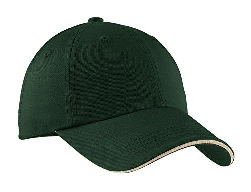 (Port Authority Men's Sandwich Bill Cap with Striped Closure OSFA Hunter/Stone)