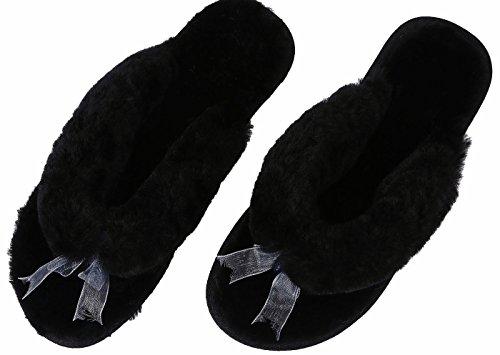 U-lite Womens Hiver Chaud Confortable Shearling Plat Tongs Maison Pantoufle, Chaud Pantoufles De Laine Pour Les Femmes Noires
