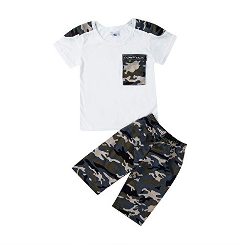 Summer 2 Piece Sets Casual Toddler Kids Baby Boys Sleeve Tops T-Shirt Camouflage Pants Little Bro Outfits Set Clothes 2-7Y (3-4 Years,Black)