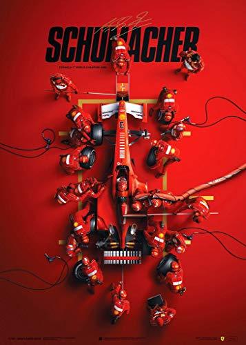 Automobilist Store Ferrari F1-2000 - Michael Schumacher - Pit Stop -Collector's Edition Unique Design Poster - Standard Poster Size 19 ¾ x 27 ½ Inch