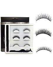 Wimper- en eyeliner-set, 3 paar valse wimpers en waterdichte eyeliner, zelfklevende simulatie van natuurlijke valse wimpers, geen lijm en geen magnetische krachttransplantatie
