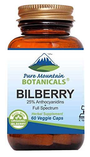 Bilberry Extract Supplement - 60 Vegan Kosher Capsules Now with 300mg Organic Bilberry Leaf & Potent Fruit Extract ()