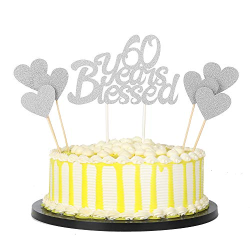 PALASASA 6pc Silver Love Star And Single Sided Glitter 60 Years Blessed Cake Topper For