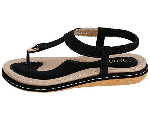 Romani Scarpe Infradito Sandali Toe Boho Heel Donna Spiaggia da Strap Sandali Clip Infradito Wedge T KUONUO Nero Elastico azvFq6Uan