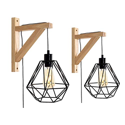 2pcs Diamond Wall Light, Motent Vintage Industrial Metal Cage Basket Lampshade with Wood Bracket, Modern Adjustable Iron Cage Wall Mounted Lighting Fixture, with E26 Socket for Porch Loft Bar - Black