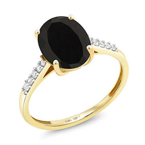 (Gem Stone King 10K Yellow Gold 2.62 Ct Oval Black Onyx White Diamond Ring (Size 7))