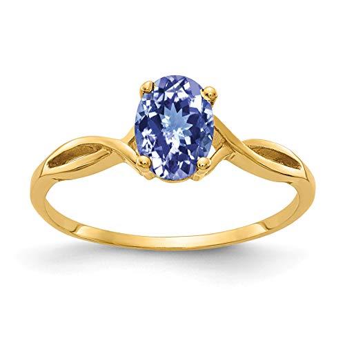 Bonyak Jewelry 14k 7x5mm Oval Tanzanite Ring in 14k Yellow Gold - Size 6 ()
