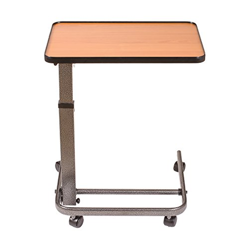 DMI-Overbed-Table-Steel-Frame-Adjustable-Overbed-Table-Tilt-Top-Overbed-Table-Height-Adjusts-From-255-to-385-Inches-No-Assembly-Required