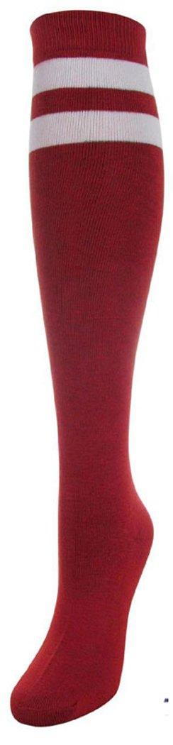 J.Ann Women's 2 White Stripe Cotton Referee/Soccer Knee High Socks, Size:9-11 (Burgundy)