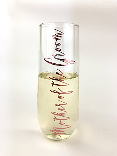 Mother of the Groom Rose Gold Stemless Champagne Flute by Citra Lily