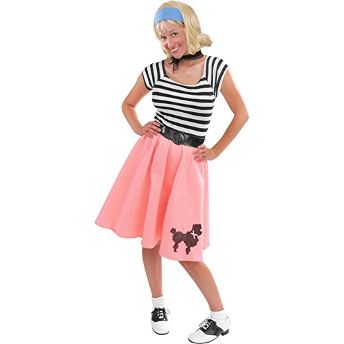 Poodle Skirts For Sale (Charades Women's Felt Poodle Dress With Sequin Applique, Pink, Medium)