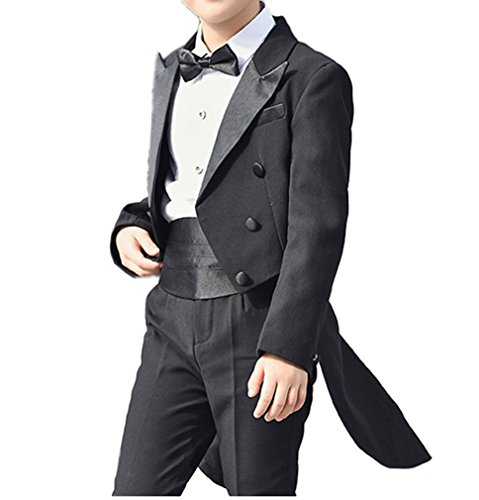 - YUFAN Boys Tail Tuxedo Suits With Tail Full Set Tailcoat Shirt Pants With Cummerbund Bow Tie (Black, 10)