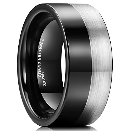 King Will Men 10mm Tungsten Carbide Ring Black Silver Wedding Band Brushed Comfort Fit(8.5)