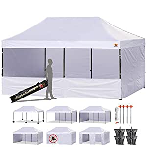 ABCCANOPY 10 x 20 Ez Pop up Canopy Tent Commercial Instant Gazebos with 9 Removable Sides and Roller Bag and 6 x Weight Bag, White