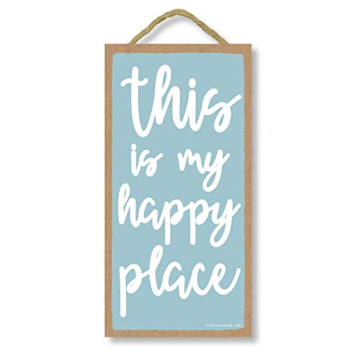 Honey Dew Gifts Wall Hanging Decorative Wood Sign This is My Happy Place 5 inch by 10 inch Hang on The Wall Home Decor