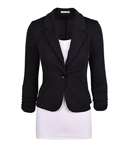 Enlishop Women's 3/4 Sleeve One Button Casual Work Office Blazer Jacket