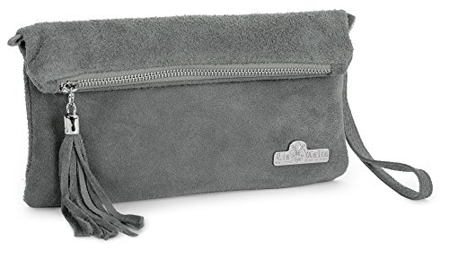 Wristlet Deep Clutch Italian Bag Suede Wedding Evening Purse Real Party Ruth Leather Grey Womens LiaTalia cOqzYwfc