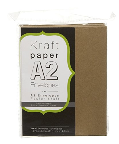 "Darice A2 Natural Kraft Paper Envelopes (50pk) – Perfect for Invitations, Greeting Cards and More – Embellish Natural Envelopes with Calligraphy Pens, Markers or Run Through Printer, 4.375""x5.75"" -"