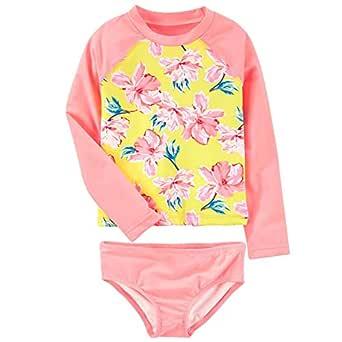 Xplanet Toddler Baby Girl Swimsuit Bathing Suit,Two Piece Swimwear Anti-UV Long Sleeve (6T, Flower)