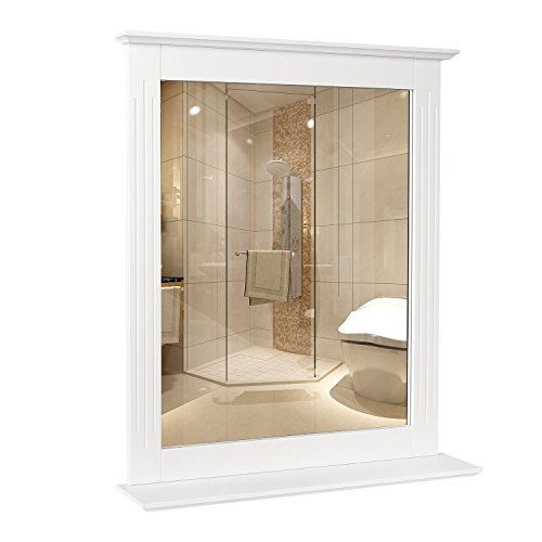 Homfa Bathroom Wall Mirror Vanity Mirror Makeup Mirror Framed Mirror with Shelf - Framed Bathroom White Mirrors Small