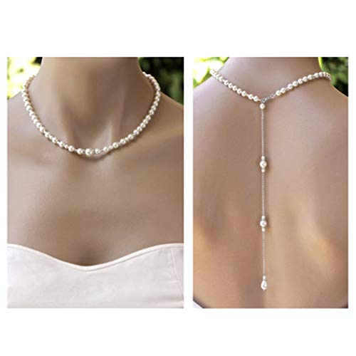 Aukmla Backdrop Necklace Faux Fur Pearl Back Drop Pendant Beads Bridal Back Lariat Wedding Prom Diamante & Pearls Choker Style - Faux Pearl Drop Necklace