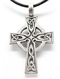 Pewter Celtic Cross Irish Scottish Wales Pendant on Leather Necklace