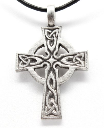 Pewter Celtic Cross Irish Scottish Wales Pendant on Leather (Cross Pewter Pendant Leather Necklace)