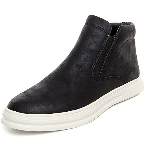 Men's Winter Warm Snow Boots Leather Whole Fur Lined Shoe High Top Loafer Sneaker