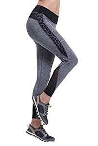 ZOANO Women's Tights Active Mesh Yoga Leggings Gray XL