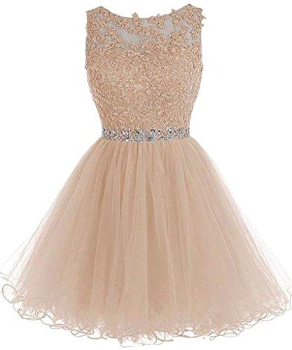 Ballkleider mia La Abendkleider Festlich Champagner Promkleider Cocktailkleider Spitze Mini Ausschnitt Braut Kurzes Tanzenkleider U Zf8afxd