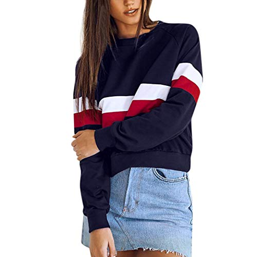Alimao 2018 Autumn Women Tops Classic Rally O Neck Striped Patchwork Sweatshirt Pullover Blouse for $<!--$9.99-->